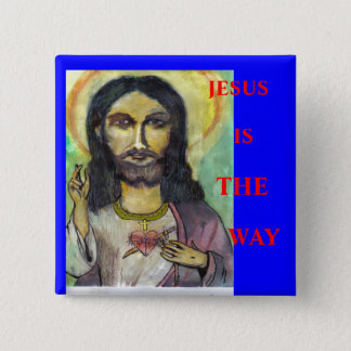 JESUS, IS, THE, WAY 2 INCH SQUARE BUTTON