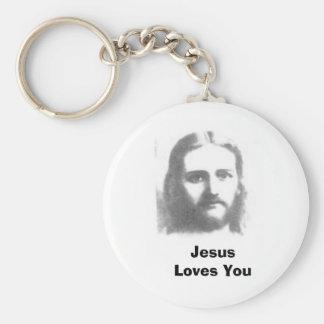 jesus, Jesus Loves You Basic Round Button Keychain