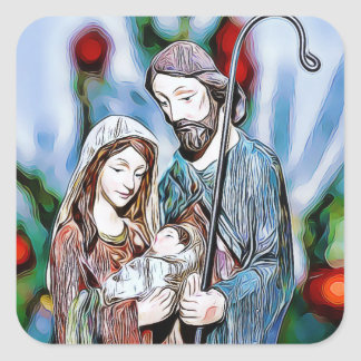 Jesus, Joseph and Mary Religious Christmas Sticker