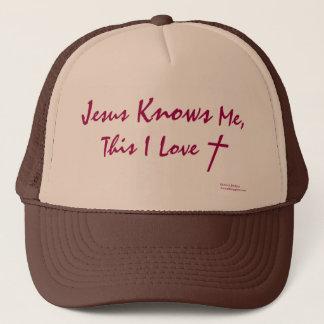 """""""Jesus Knows Me, This I Love"""" (Genie-Us Designs) Trucker Hat"""