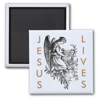 Jesus Lives And Angel With Harp Magnet
