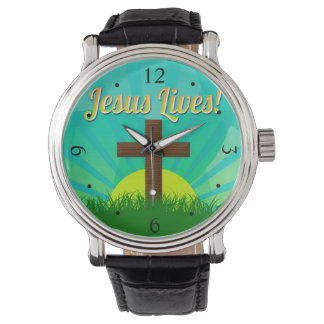 Jesus Lives Blue/Brown Christian Easter Cross Watch