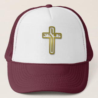 Jesus logo in Gold Trucker Hat