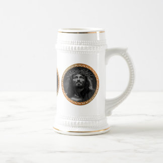 Jesus looking in the heavens beer stein