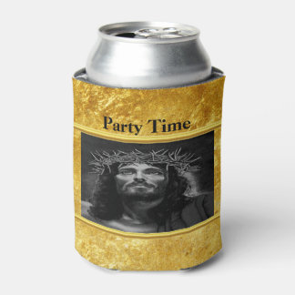 Jesus looking into heaven with a gold foil design can cooler