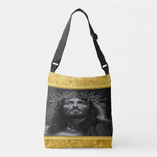 Jesus looking into heaven with a gold foil design crossbody bag