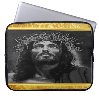 Jesus looking into heaven with a gold foil design laptop sleeve