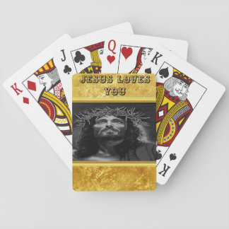 Jesus looking into heaven with a gold foil design playing cards