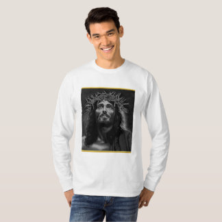 Jesus looking into heaven with a gold foil design T-Shirt