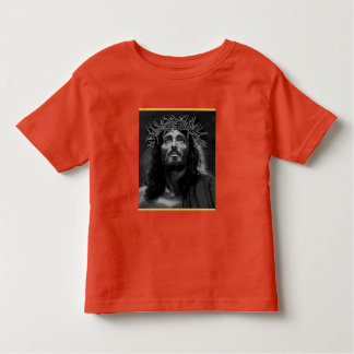 Jesus looking into heaven with a gold foil design toddler t-shirt