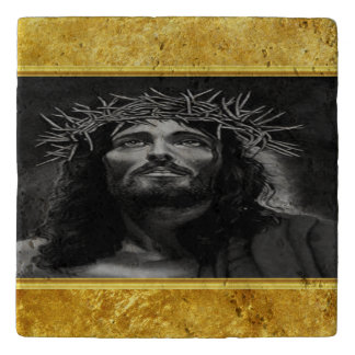 Jesus looking into heaven with a gold foil design trivet
