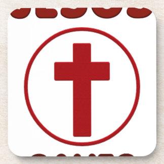 Jesus loves, Christ Christianity Religion Cross.pn Coaster