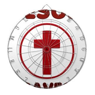 Jesus loves, Christ Christianity Religion Cross.pn Dartboard
