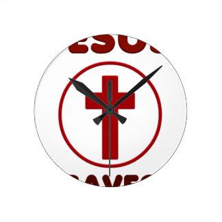 Jesus loves, Christ Christianity Religion Cross.pn Round Clock