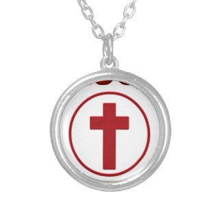 Jesus loves, Christ Christianity Religion Cross.pn Silver Plated Necklace