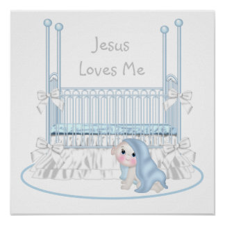 Jesus Loves Me Baby Boy Nursery Art 25x25 Poster