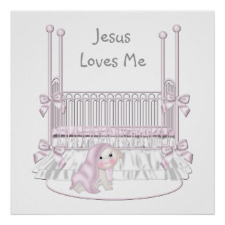 Jesus Loves Me Baby Nursery Wall Decor 25x25 Poster