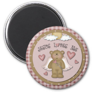 Jesus Loves Me Christian Teddy Bear Angel Magnet