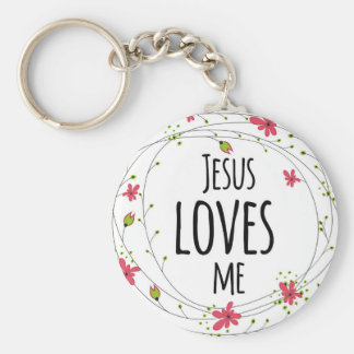 Jesus Loves Me Cross Wreath Floral White Keychain