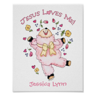 Jesus Loves Me Dancing Lamb Poster