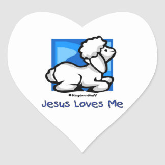Jesus Loves Me Lamb Heart Sticker