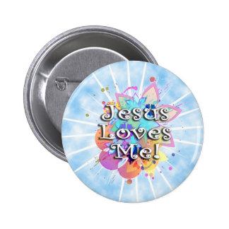 Jesus Loves Me, Pastel Watercolor Buttons