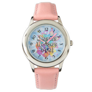 Jesus Loves Me, Pastel Watercolor Wrist Watch
