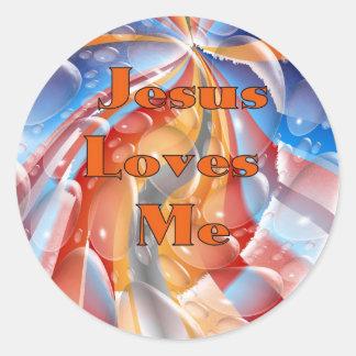 Jesus Loves Me Round Sticker
