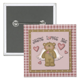 Jesus Loves Me Teddy Bear Angel Square Button