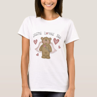Jesus Loves Me Teddy Bear Angel Women's Baby Doll T-Shirt