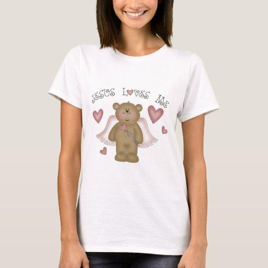 Jesus Loves Me Teddy Bear Angel Women's Baby Doll T-Shirt