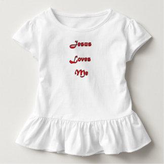 Jesus Loves Me Toddler Ruffled Tee