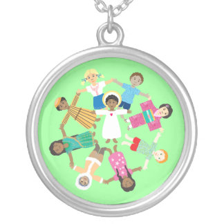 Jesus loves the little children silver plated necklace