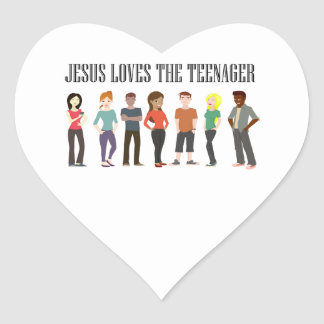 JESUS LOVES THE TEENAGER HEART STICKERS