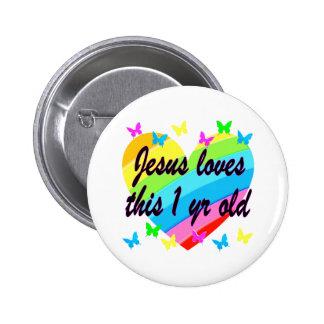 JESUS LOVES THIS 1 YEAR OLD BIRTHDAY DESIGN 2 INCH ROUND BUTTON
