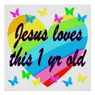 JESUS LOVES THIS 1 YEAR OLD BIRTHDAY DESIGN POSTER
