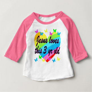 JESUS LOVES THIS 3 YR OLD BIRTHDAY DESIGN BABY T-Shirt