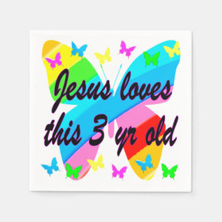 JESUS LOVES THIS 3 YR OLD BUTTERFLY DESIGN PAPER NAPKIN
