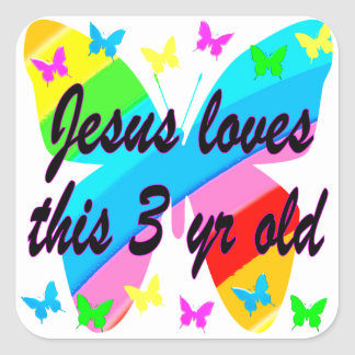 JESUS LOVES THIS 3 YR OLD BUTTERFLY DESIGN SQUARE STICKER