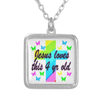 JESUS LOVES THIS 4 YEAR OLD BIRTHDAY DESIGN SILVER PLATED NECKLACE