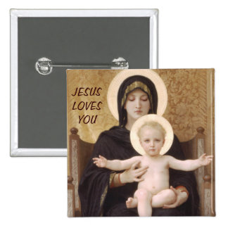 JESUS LOVES YOU 2 INCH SQUARE BUTTON