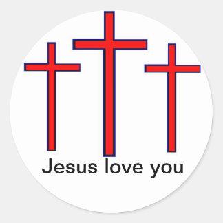 Jesus loves you Cross sticker