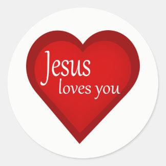 Jesus Loves You Heart Affirmative Sticker