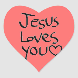 Jesus Loves You Heart Sticker