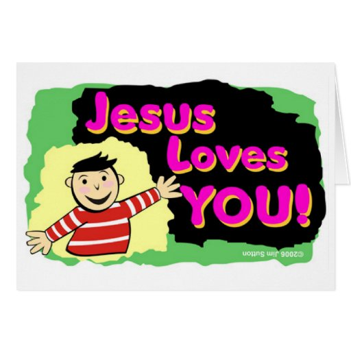 Jesus loves you little boy religious gift design greeting cards