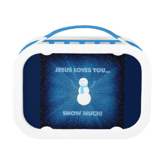 Jesus Loves You Snow Much! Christian Snowman Blue Lunch Box