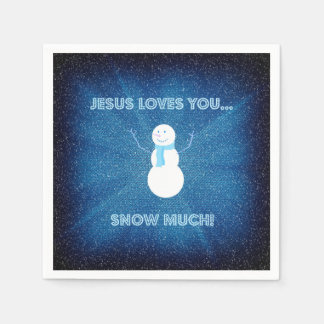 Jesus Loves You Snow Much! Christian Snowman Blue Paper Napkins