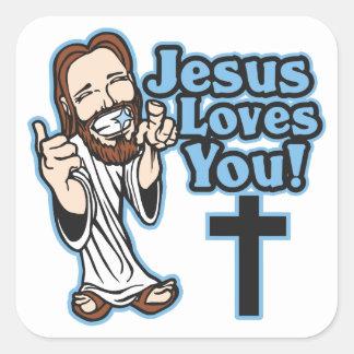 Jesus Loves You Square Sticker