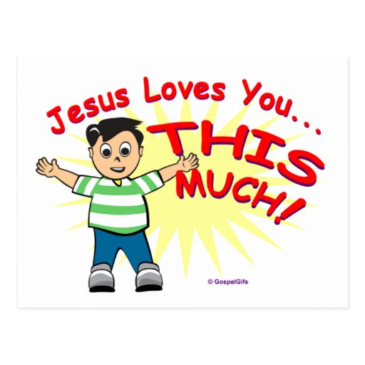 Jesus loves you this much Christian gift design Post Card