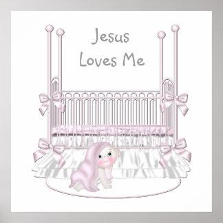 Jésus m'aime le décor 25x25 de mur de crèche de bé poster
